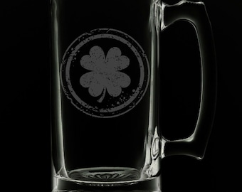 Irish Clover 25 Ounce Beer Mug (Also Available in 16oz & 12oz)