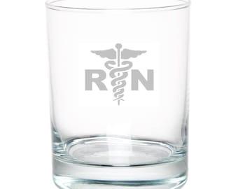 Registered Nurse 13 Ounce Personalized Rocks Glass