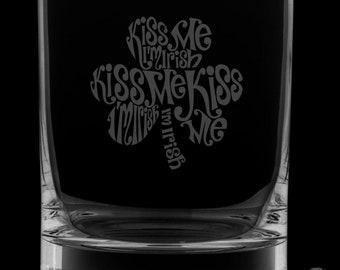 Kiss Me I'm Irish 12 Ounce Rocks Glass