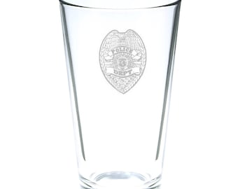Police Department 16 Ounce Personalized Rim Tempered Pint Glass
