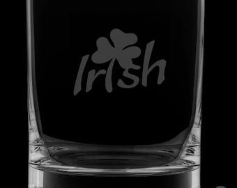 Irish Shamrock 12 Ounce Rocks Glass