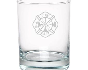 Fire Department 13 Ounce Personalized Rocks Glass