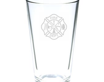 Fire Department 16 Ounce Personalized Rim Tempered Pint Glass