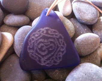 Blue Seaglass Laser Engraved Celtic Pendant