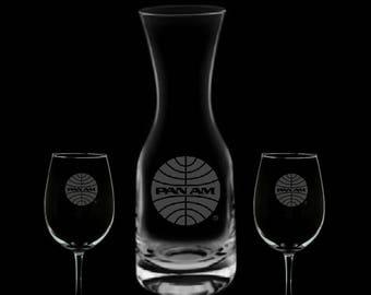 Pan American Airways 32 Ounce Wine Carafe & 2 Glass Set