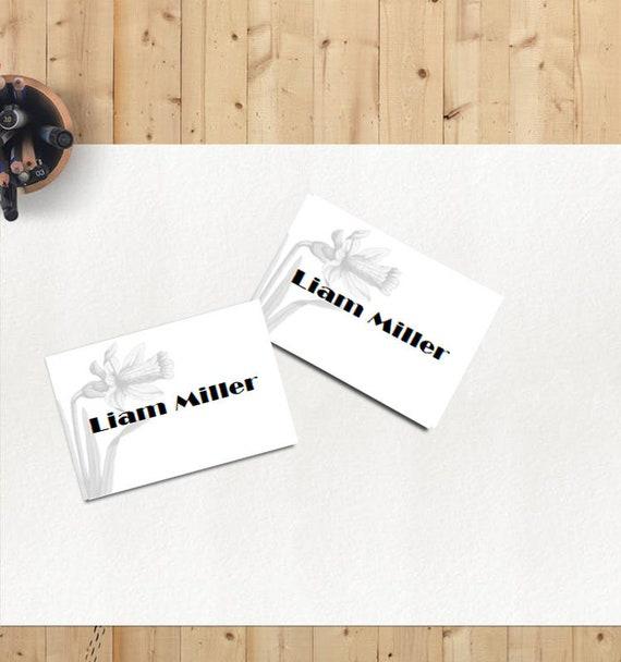Druckbare Tischkarte Name Karte Vorlage Narzisse Druckvorlage