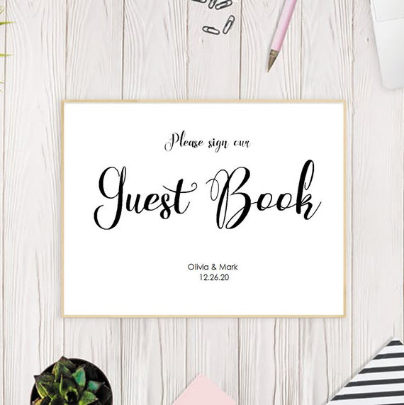 guest book sign wedding guest book sign printable guestbook etsy