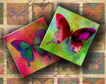 INSTANT DOWNLOAD Digital Collage Sheet Printable Colorful Butterflies 1 inch Squares - DigitalPerfection digital collage sheet 406