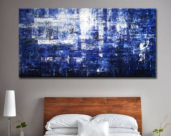 Blue Abstract Painting, Blue Contemporary Art, Custom Abstract Art, Black and Blue, Large Abstract Painting, Wall Decor Art