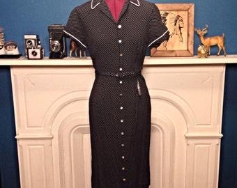 Vintage 90s Black and White Polka Dot Rockabilly Waitress Dress