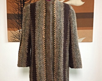 Vintage 80s 90s Nubby Textured Boucle Earth Tones Striped Coat Jacket - Small