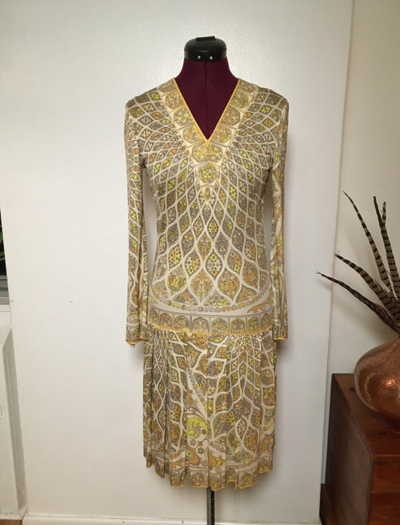 Vintage Psychedelic PUCCI Dress, 70s Pucci Silk Dr