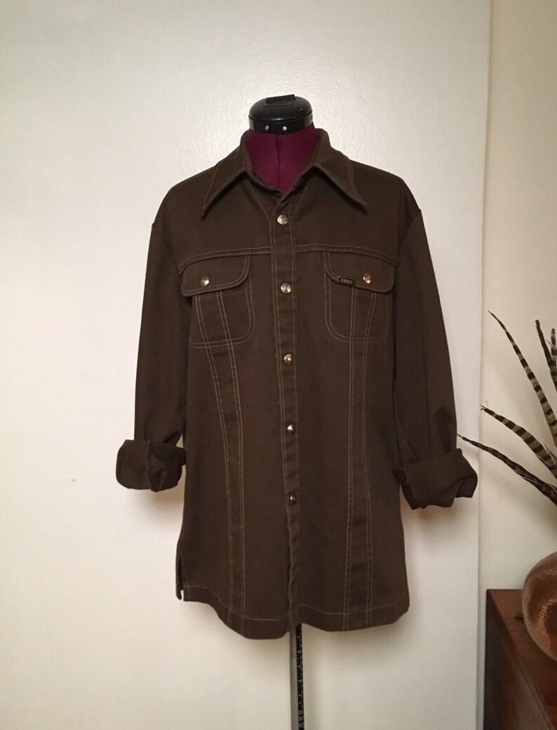 b1cb4bc0712 Vintage Lee Jean Jacket 1970s Brown Denim Cotton Western Style | Etsy