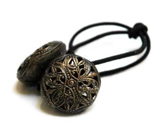 Antique Button Ponytail Holder, PiercedMetal  Design,  Vintage Brass Buttons with Intricate Detailingas Hair Accessory