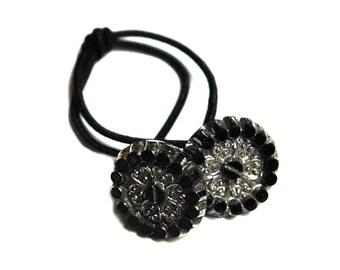 Art Deco Style Ponytail Holder, Black & Silver Vintage Glass Button Hair Elastic Tie, Art Deco Era, Hair Accessory