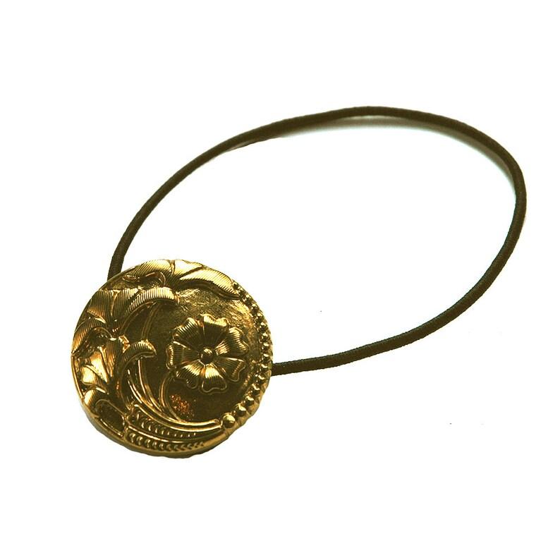 Glass Hair Accessory Hair Jewelry Gold Flower Design Art Nouveau Style Black Tie Event Vintage Button Ponytail Holder Elastic Hair Tie
