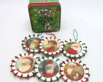 6 Wool Felt Santa Ornaments with Beading in Christmas Tin