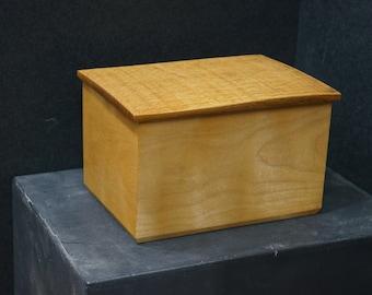 Maple and white oak box with hidden spline construction.