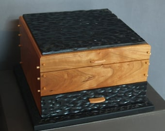 Cherry and carved basswood jewelry box
