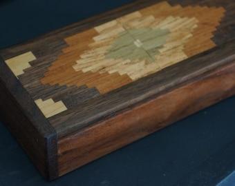 Inlaid walnut box