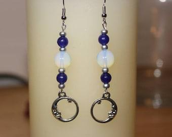 Man In the Moon, Dangle Earrings. Minamalist, Man In the Moon Earrings. Lunar Earrings. Lunar Jewelry. Man In the Moon and Stars Earrings.