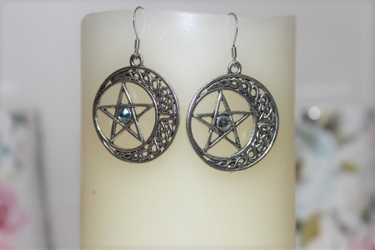 Crescent Earrings Ancient Symbolism Celtic Knot Charms Crescent Earrings. Celestial Style Jewelry Mystical Lacy Dangle Earrings Wicca