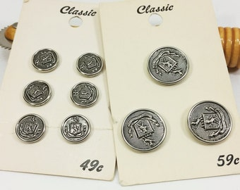 Silver Crest Buttons, Molded Plastic Shield and Lion Pewter Look Shank Coat Blazer Jacket Button Set