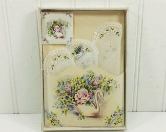 Lace Handkerchief and Sachet Gift Set, Treasure Masters Keepsake Hankie Swan & Roses Switzerland