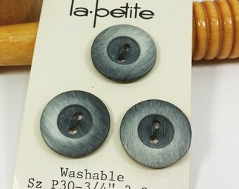 Large Gray Buttons, La Petite 19 mm 3/4 inch Shaded Grey Deep Center Buttons
