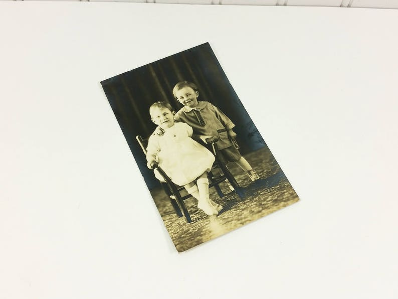 Boy /& Girl Sepia Portrait 1925 Madge and Robert Found Family Cute Cousins Photo Postcard