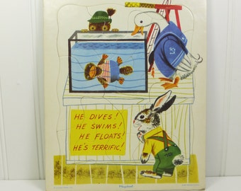 Rabbit and His Friends Vintage Richard Scarry Playskool Cardboard Tray Puzzle, He Dives! He Swims!