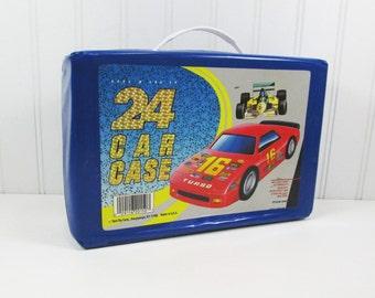Tara Toy Car Case with 24 Hot Wheels vehicles, Vintage 1980s Storage with 2 Racks