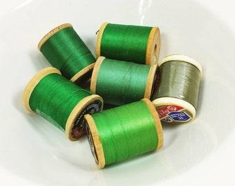 Green Thread on Wood Spools, Olive Spring Mint Kelly Green Vintage Wooden Thread Spools