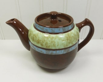 Small Sadler Teapot in Mottled Brown with Green & Blue Stripes, Brown Betty Single Serving Teapot