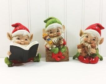 Homco Elf Figurine Set, Elf and Puppet, Elf Reading Book, Elf with Train, Ceramic Elf Figurines