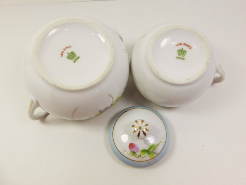 Nippon Sugar and Creamer Set, Hand Painted Porcelain Blue Pink Floral Tea  Party