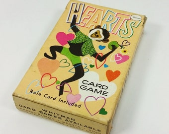 Whitman Hearts Card Game, 1950s Animal Hearts Card Game Playing Deck in Box