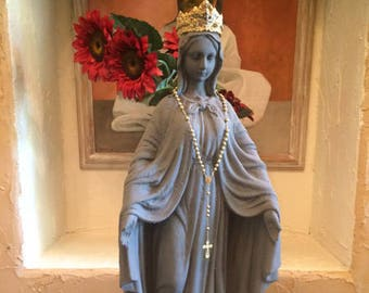 French Grey Madonna Statue Vintage Décor Large