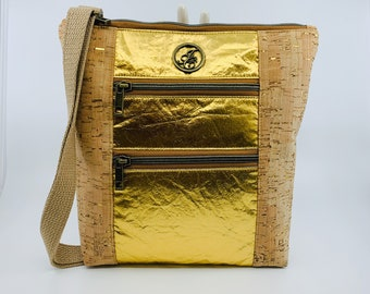 Cross Body Bag (Purse) Made from Cork and Piñatex® - Pineapple Leaf