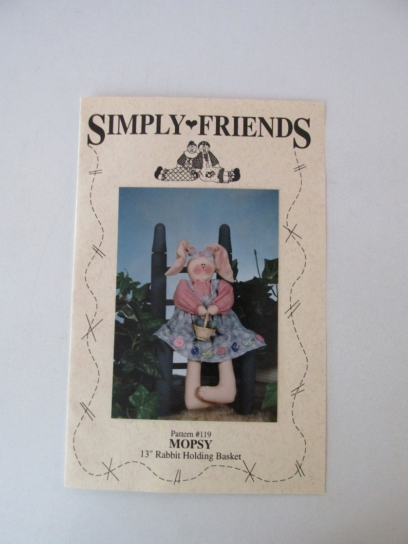 Bunny toy Rabbit toy sewing pattern #119-13 toy 1993 Simply Friends Mopsy
