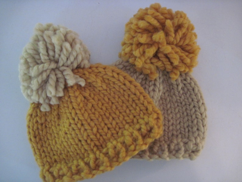 baby shower gift twin baby set Newborn to 3 months photo shoot prop two hat set Oversize pompom beanie READY TO SHIP