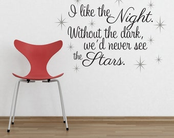 I like the night.  Without the dark, we'd never see the stars.  twilight Quote with stars 27X36
