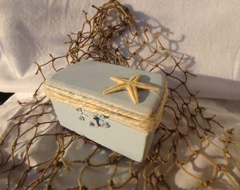 Rustic Weathered Sea Blue Beach  Nautical Style Wedding Ring Box Starfish