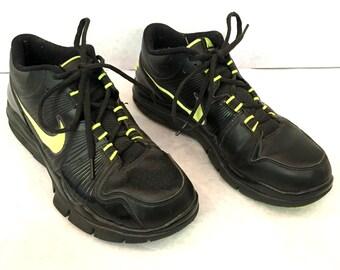 Vintage Tennis Shoes Black Shoes Neon Green Shoes Running Shoes Niki Shoes Tennis Shoes Mens Shoes 8.5 Womens Shoes 9.5 10 Black Sneakers