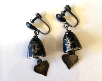 Vintage earrings dangle earrings thai earrings siam silver black enamel 60s earrings retro earrings thai dancer goddess screw back earrings