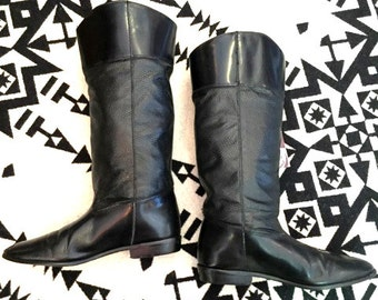 Vintage Riding Boots Black Leather Riding Boots Textured Leather Boots Womens Riding Boots Size 7 Dingo Brand Black Leather Boots