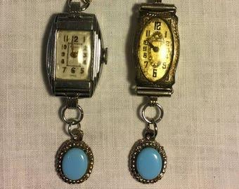 Hand-made earrings Vintage earrings Watch Face earrings Clock Earrings Antique Blue charm Silver earrings Victorian Steam punk