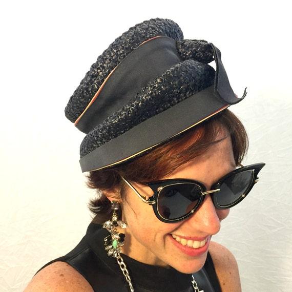Vintage hat navy blue hat woven hat 50s/60s/70s h… - image 2