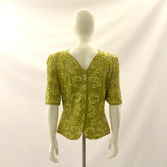 Vintage 1980s Top Sequin Top Fancy Top chartreuse