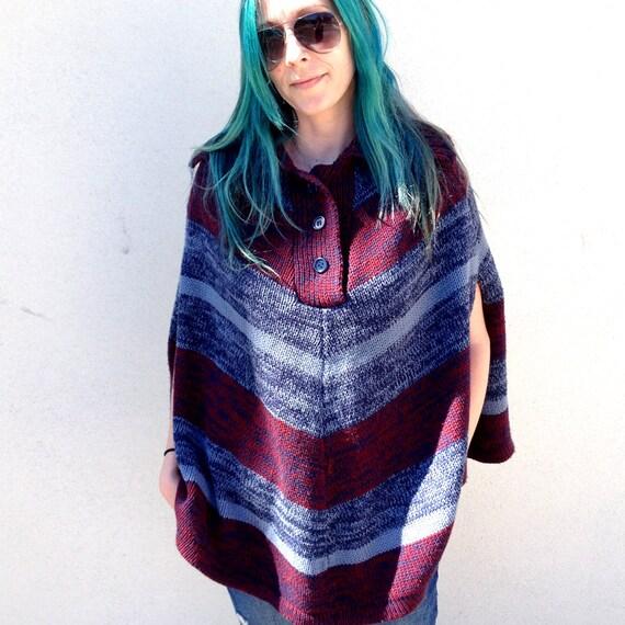 Vintage poncho southwestern poncho knit poncho Boh
